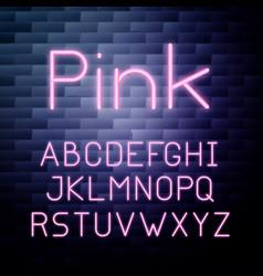 pink glowing neon alphabet vector image