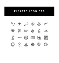 pirate icon set with black color outline style vector image