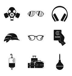 Place of disaster icons set simple style vector