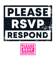 please respond stamp with grunge texture and vector image