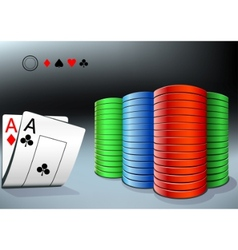 poker chips and two aces vector image