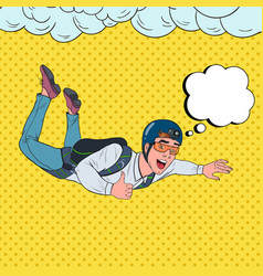 pop art businessman flying with parachute vector image