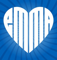 popular female name Emma in heart vector image