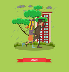 Rainy weather concept in flat vector