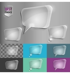 Rectangle glass speech bubble icons with soft vector image