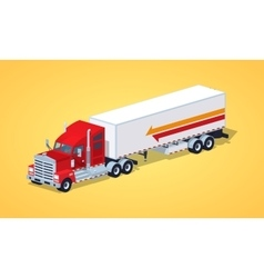 Red heavy american truck with the trailer vector