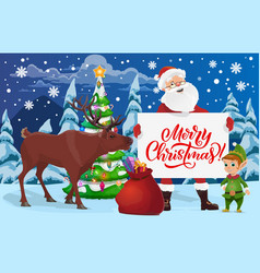 santa deer and elf with christmas tree and gifts vector image