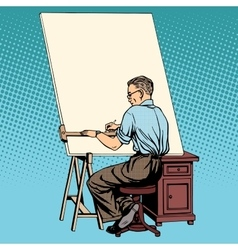 Scientist designer asian engineer working drawings vector image