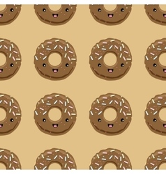 Seamless pattern with chocolate glazed donuts vector image