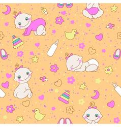 Seamless pattern with cute newborn girls vector