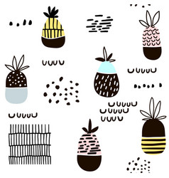 Seamless pattern with pineapple modern vector