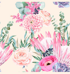 Seamless pattern with protea and roses vector