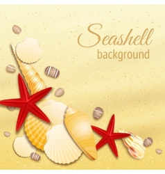 Seashell sand background poster vector image