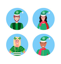 set mix race man woman christmas elf santa helper vector image