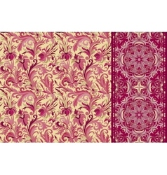 set seamless floral pattern and border vector image