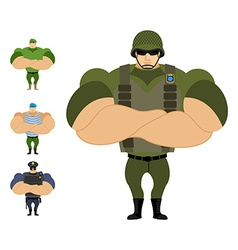 Soldiers Set of strong military people of vector image