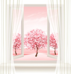 Spring background with an open window and vector image