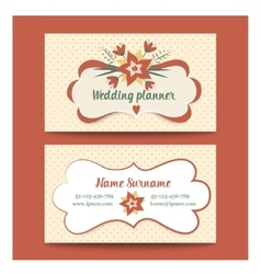template business cards for wedding planner or vector image