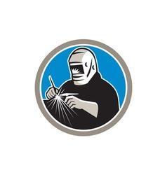 Tig welder welding circle retro vector