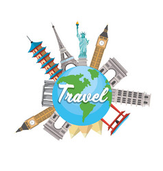 Towers destination travel and global map vector