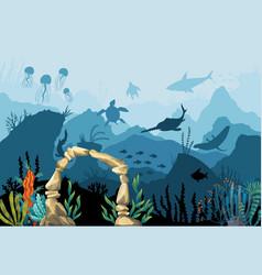 Underwater sandstone arch natural vector