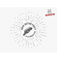 vintage guitar label with sunburst vector image