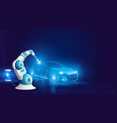 white robot arm welding automobile vector image