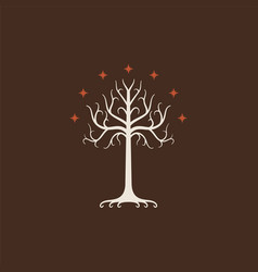 White tree of gondor isolated on brown background vector