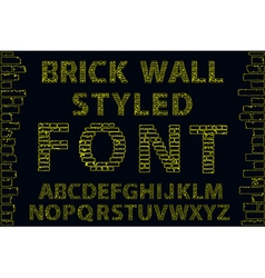 Yellow empty decorative brick wall style font vector