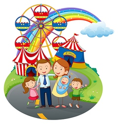 A happy family going to the amusement park vector image vector image