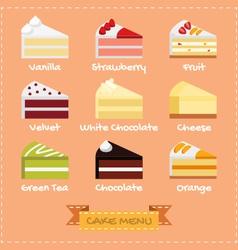 Flat design of cake menu vector image