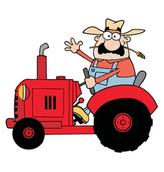 Happy Farmer In Red Tractor Waving A Greeting vector image
