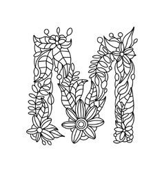 Letter M coloring book for adults vector image vector image