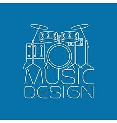 Music design with drum kit logo vector image