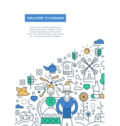 Welcome to Ukaine- line design brochure poster vector image vector image