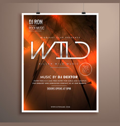Wild party flyer flyer template in abstract vector