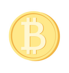 bitcoin icon yellow coin blockchain cryptocurrency vector image
