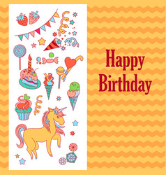 bright birthday card with unicorn flower ice vector image
