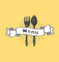 fork and spoon restaurant menu template vintage vector image