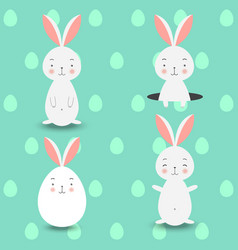 four rabbits on blue eggs background vector image vector image
