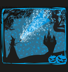 halloween invitation with witch vector image vector image