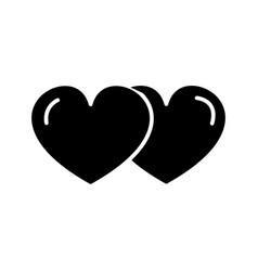 hearts couple love icon sig vector image