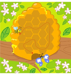 Maze game with bee and butterfly vector image