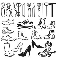 shoe repair design elements tools for shoe repair vector image vector image