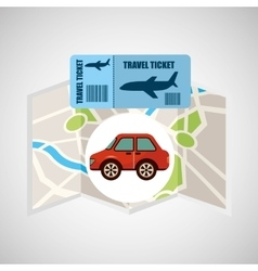 Airline ticket map travel red car vector