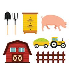 farm elements in cartoon flat style vector image