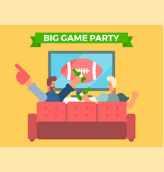 Friends watching a football game on tv vector