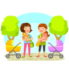 mothers with babies vector image