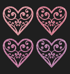 Set collection of ornamental pink glitter hearts vector