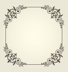 art nouveau square frame with ornate curly corners vector image vector image
